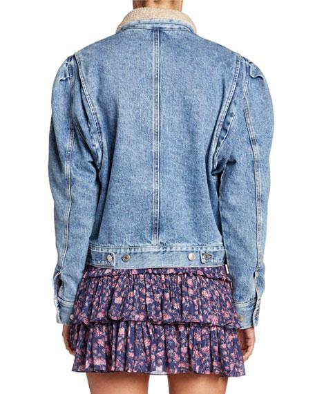 Etoile Isabel Marant Nolinea Sherpa-Collar Puff-Sleeve Jacket