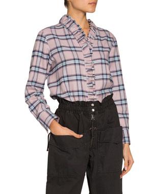 5eb68d0aeee5b5 Etoile Isabel Marant Awendy Plaid Ruffle-Front Shirt