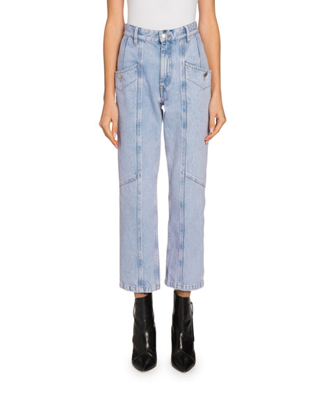 Etoile Isabel Marant Notty Straight-Leg Cropped Ankle Jeans