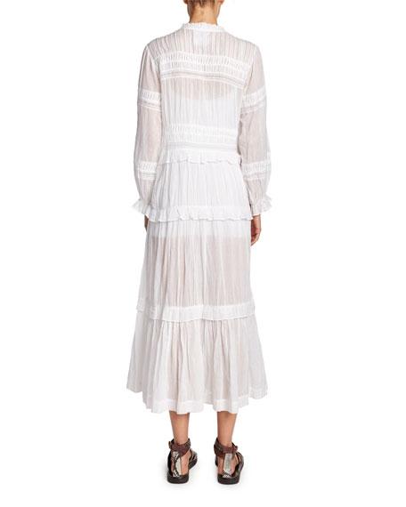Etoile Isabel Marant Likoya Tiered Cotton Long-Sleeve Dress