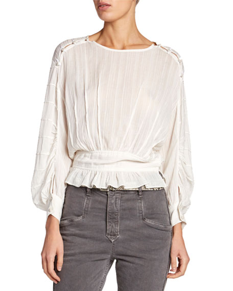 Etoile Isabel Marant Oak Viscose Blouson-Sleeve Blouse with Buttons