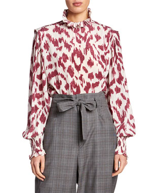 041440e8888541 Etoile Isabel Marant Yoshi Printed High-Neck Blouse