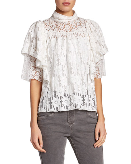 Etoile Isabel Marant Vetea High-Neck Tiered Lace Ruffle Top