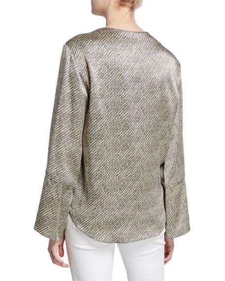 cinq a sept hayden birdseye long-sleeve tie-hem silk blouse