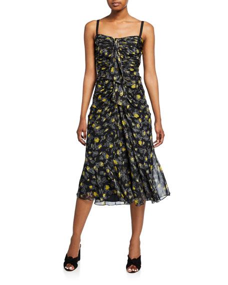 cinq a sept Margot Floral-Print Shirred Midi Silk Dress
