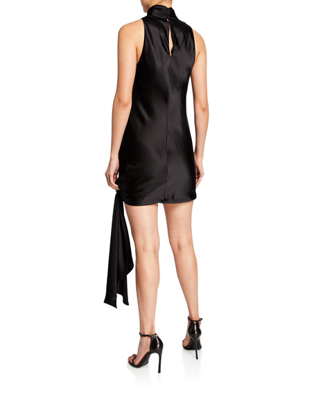 cinq a sept denise turtleneck mini tie-hem satin dress