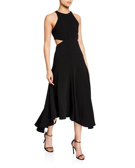 cinq a sept belladonna sleeveless cutout midi dress