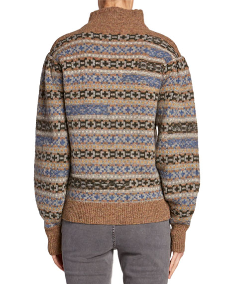Etoile Isabel Marant Ned Wool Fair Isle Turtleneck Sweater