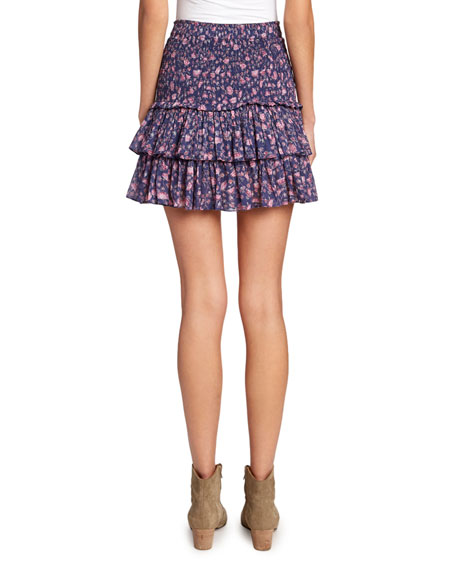 Etoile Isabel Marant Naomi Smocked Floral Tiered Skirt