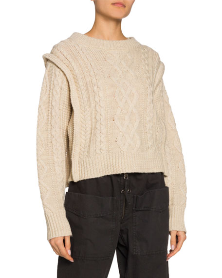 Etoile Isabel Marant Tayle Cable-Knit Crop Sweater