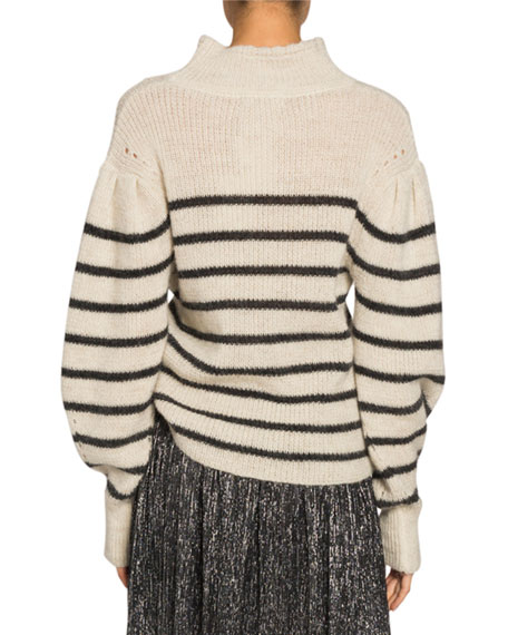 Etoile Isabel Marant Georgia Striped Drop-Shoulder Turtleneck Sweater