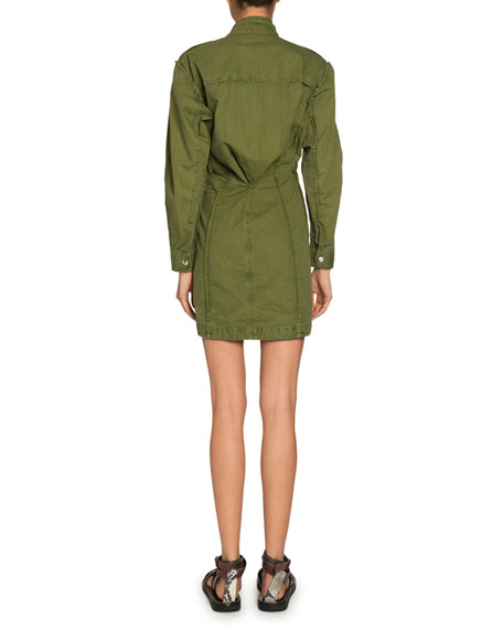 Etoile Isabel Marant Linore Snap-Front Collared Shirt Dress
