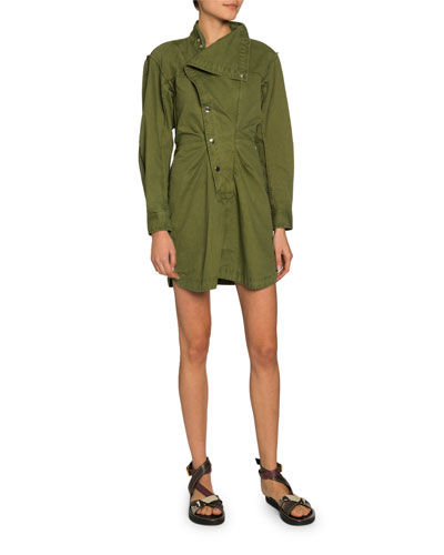 Linore Snap-Front Collared Shirt Dress