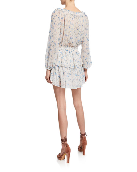 LoveShackFancy Popover Long-Sleeve Tiered Mini Dress