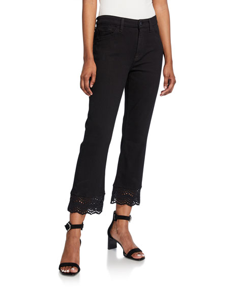 Jen7 by 7 for All Mankind Cropped Boot-Cut Jeans with Eyelet Embellishment