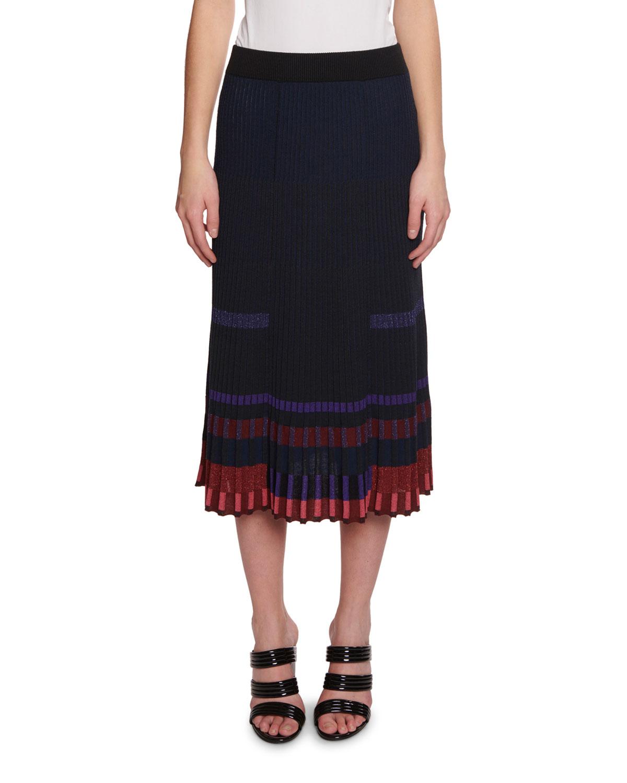 5399117983 Pleated Metallic Midi Skirt