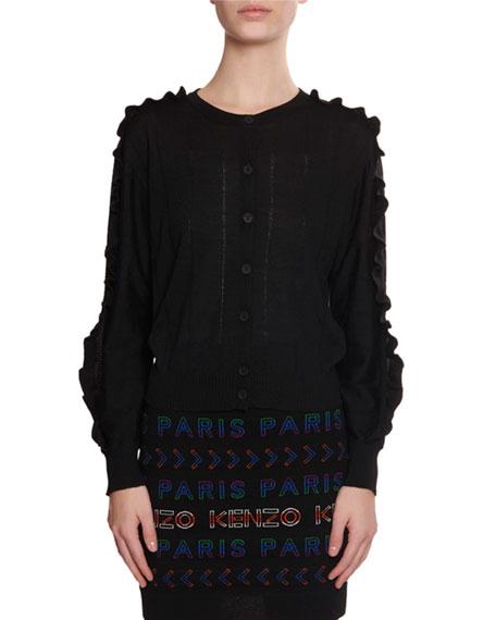 Kenzo Short Button-Front Wool/Silk Ruffle Cardigan