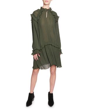 59fcd354 Kenzo Crinkle Drop-Waist Long-Sleeve Ruffle Dress