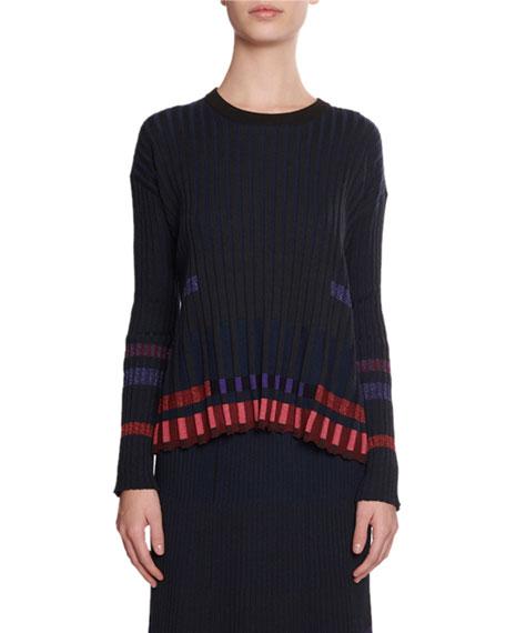 Kenzo Pleated Metallic Crewneck Sweater