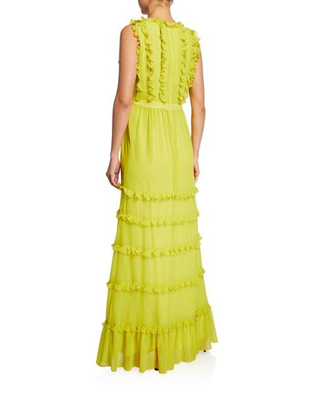 Badgley Mischka Sleeveless Ruffle Maxi Dress