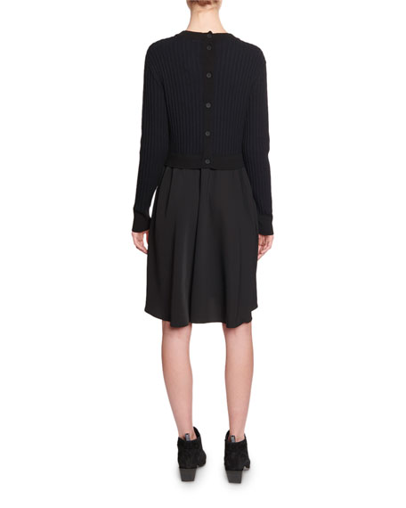 Kenzo Mixed-Knit Long-Sleeve Dress
