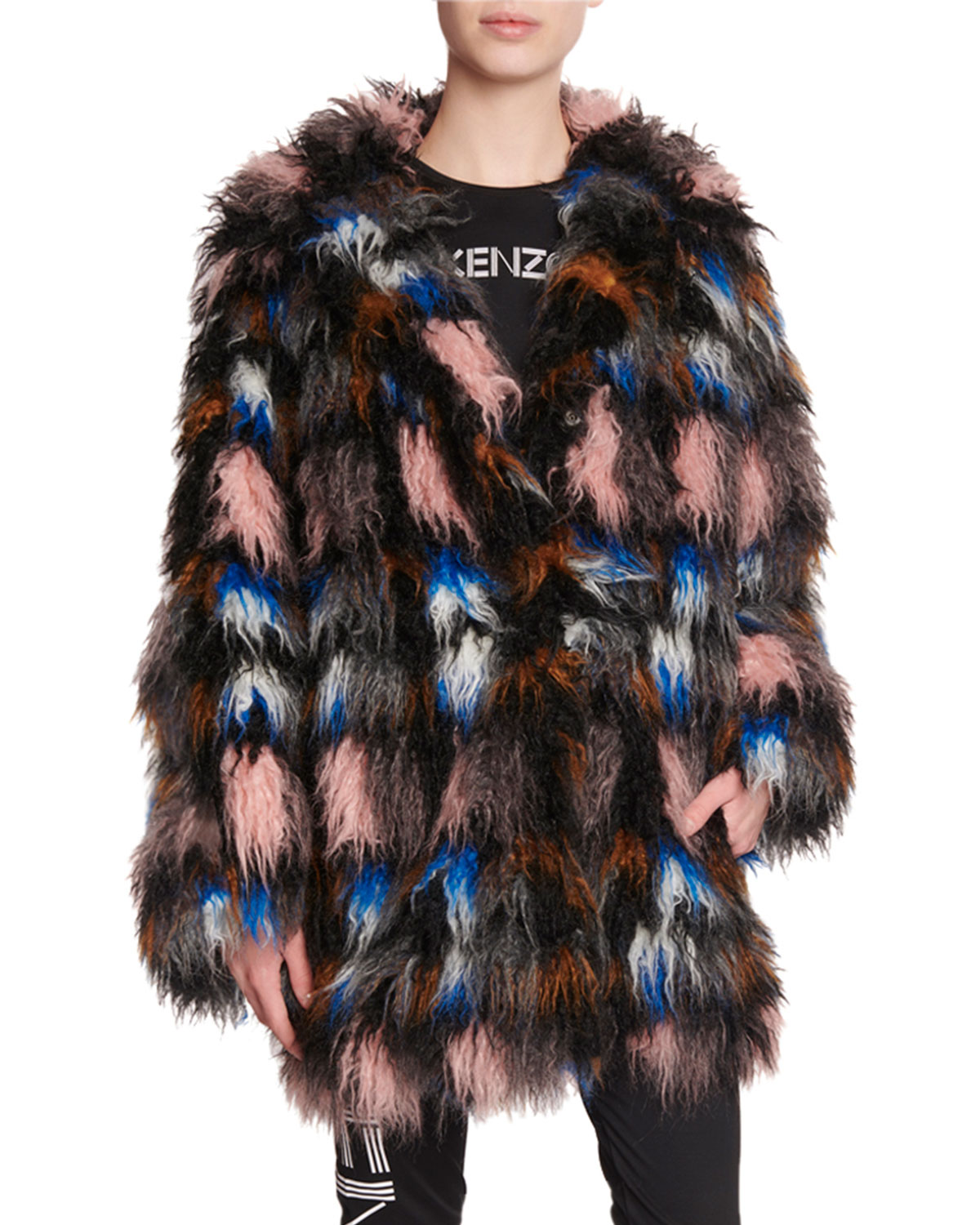 shaggy-snap-front-faux-fur-coat by kenzo