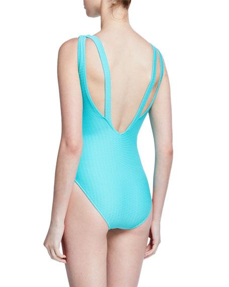 Seafolly La Luna High-Neck Textured One-Piece Swimsuit