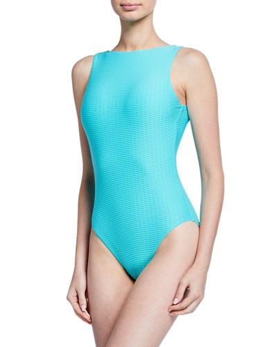 La Luna High-Neck Textured One-Piece Swimsuit