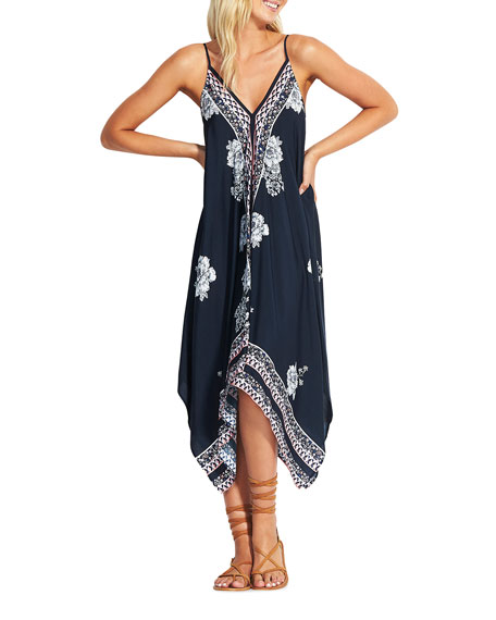 Seafolly Geo Ditsy Scarf-Print Coverup Dress