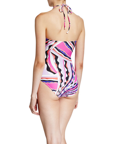 Emilio Pucci Printed O-Ring Halter One-Piece Swimsuit