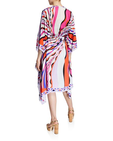 Emilio Pucci Printed 3/4-Sleeve V-Neck Dress