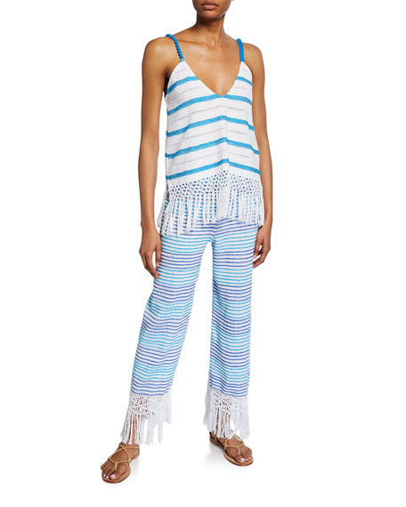 Jaline Tallulah Hand-Woven Macrame Striped Pants