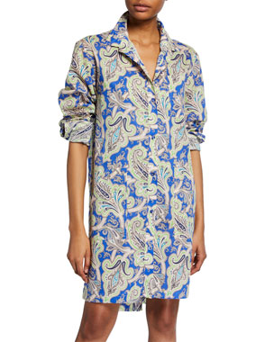 b8e4a0abf80f3 Etro Paisley Button-Front Tunic Dress