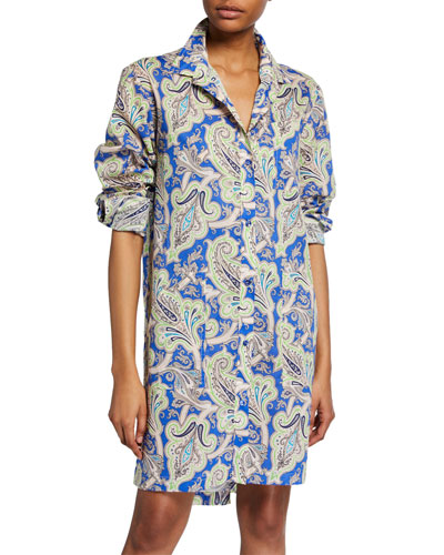 Paisley Button-Front Tunic Dress
