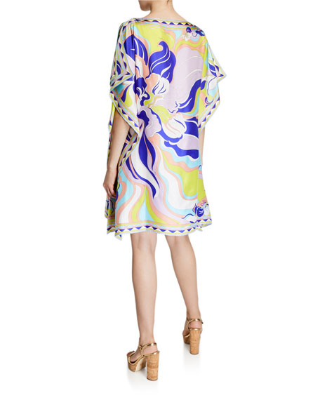 Emilio Pucci Boat-Neck Printed Silk Short Dress
