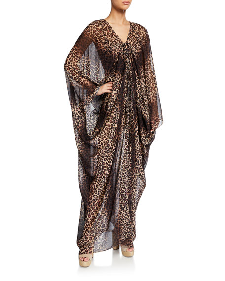 Jonathan Simkhai Leopard-Print Tie-Front Coverup Robe