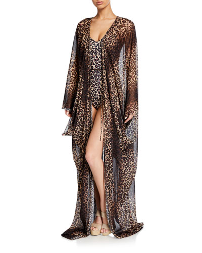 Leopard-Print Tie-Front Coverup Robe