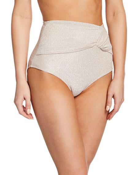 Jonathan Simkhai Metallic Twist-Front High-Waist Bikini Bottom