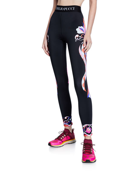Emilio Pucci Printed Logo-Band Leggings