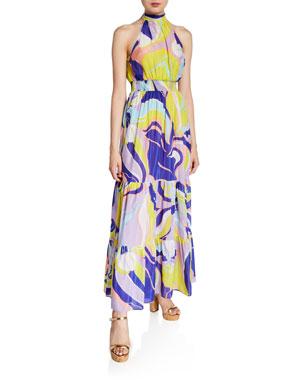 e3fc8c82ce7a Emilio Pucci Printed High-Neck Tiered Maxi Dress