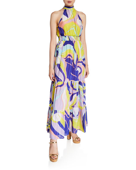 Emilio Pucci Printed High-Neck Tiered Maxi Dress