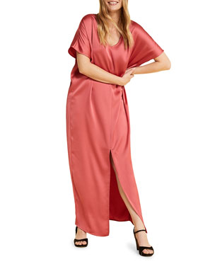 01d29711d2 Marina Rinaldi Plus Size Domanda Short-Sleeve Satin Maxi Dress with Slit