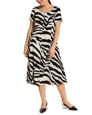 33c96c8e1 Marina Rinaldi Plus Size Docenza Zebra-Stripe Sleeveless Midi Dress