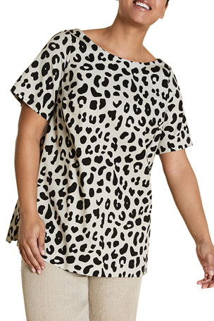 Marina Rinaldi Plus Size Fregio Animal-Print Short-Sleeve Top