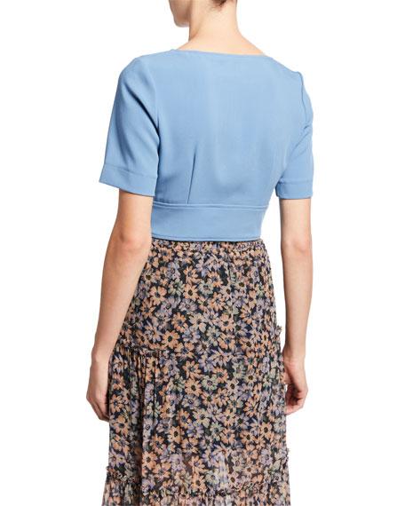 Jill Jill Stuart Zipper Front Short-Sleeve Crop Top