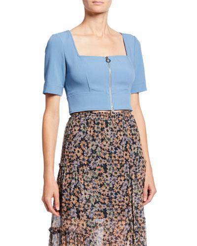 Zipper Front Short-Sleeve Crop Top