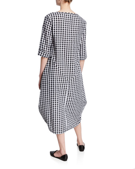 DUBGEE by Whoopi Check 3/4-Sleeve Cocoon Dress