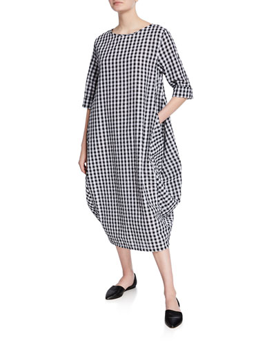 Check 3/4-Sleeve Cocoon Dress