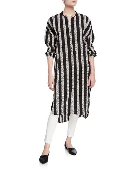 DUBGEE by Whoopi Half Herringbone Button-Front Long Tunic