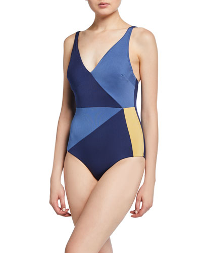 Colorblock V-Neck One-Piece Swimsuit (D-DD Cup)